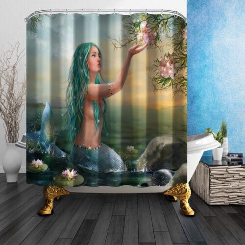 Fairy Mermaid Fabric Shower Curtain Set Polyester Sheer Bathroom Mat Rug Hooks
