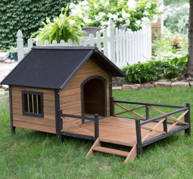 Dog House With Porch Pet Shelter Kennel