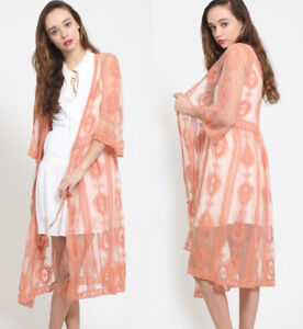 Coral-Embroidered-Sheer-Lace-Long-Midi-Kimono-Open-Front-Wrap-Cardigan-Top