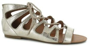 gold-SANDALS-womens-shoes-FLAT-LACE-UP-size-12-13-ZIP-BACK