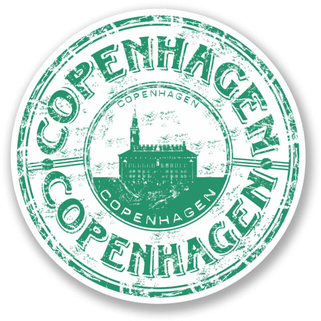 2 x 10cm Copenhagen Vinyl Sticker Travel Luggage Suitacase Label Denmark #5772