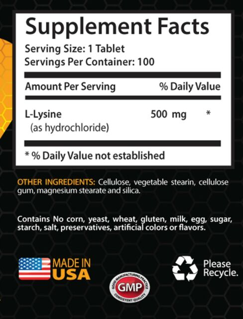 cold sore treatment - L-LYSINE 500mg - herpes pills - 1 Bottle