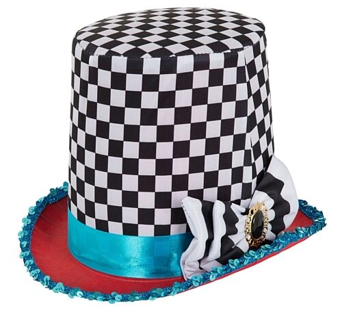 New Alice In Wonderland-Mad Hatter Themed Fancy Dress Costume Hat /& Cravat Set