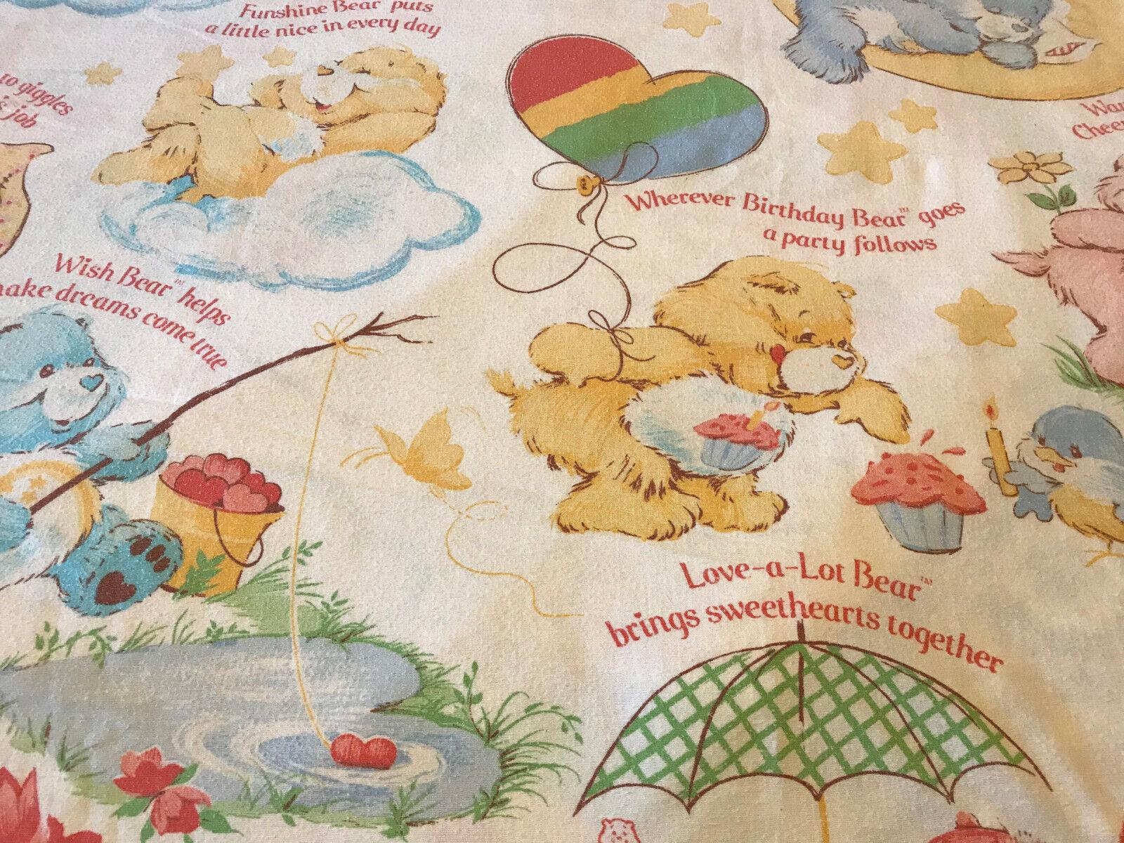 Vintage Care Bears Full Bedding Set Fabric American Greetings Rainbow 1980's USA