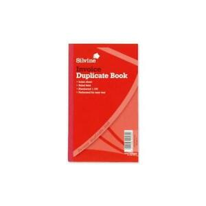 """611 Silvine 8 X 5/"""" Duplicate Invoice Book With Carbon 1-100 Index Sheet"""