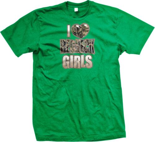 I Love Redneck Girls Heart Country Women South Camo Trailer Hick Men/'s T-Shirt