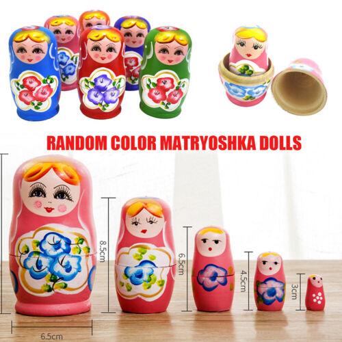 5pcs//set Hand Painted Russian Girl Matryoshka Novelty Wooden Nesting Dolls