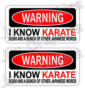 Details about (2) Warning I KNOW KARATE Funny Hard Hat Stickers / Decals  Labels Quotes USA