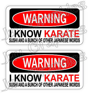 (2) Warning I KNOW KARATE Funny Hard Hat Stickers / Decals Labels Quotes USA