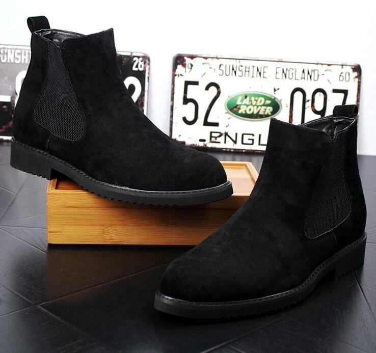 Uomo High Top Pointed Toe Chelsea Suede Pelle Ankle Stivali Hidden Heel Shoes