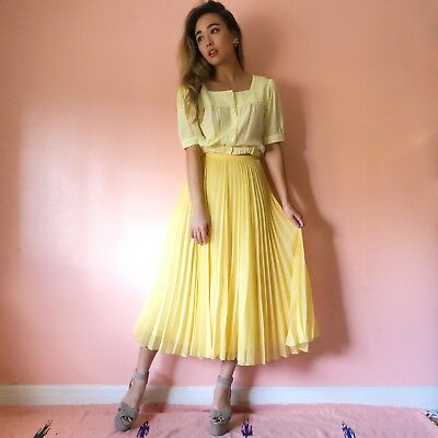 exclusive range the cheapest look out for Whistles Pale Yellow Pleated Midi Skirt | eBay
