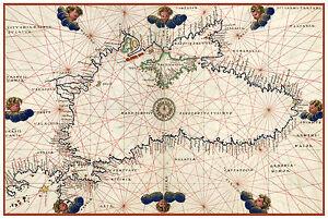 Black-Sea-Bulgaria-Romania-Ukraine-Turkey-Nautical-map-Battista-Agnese-ca-1544