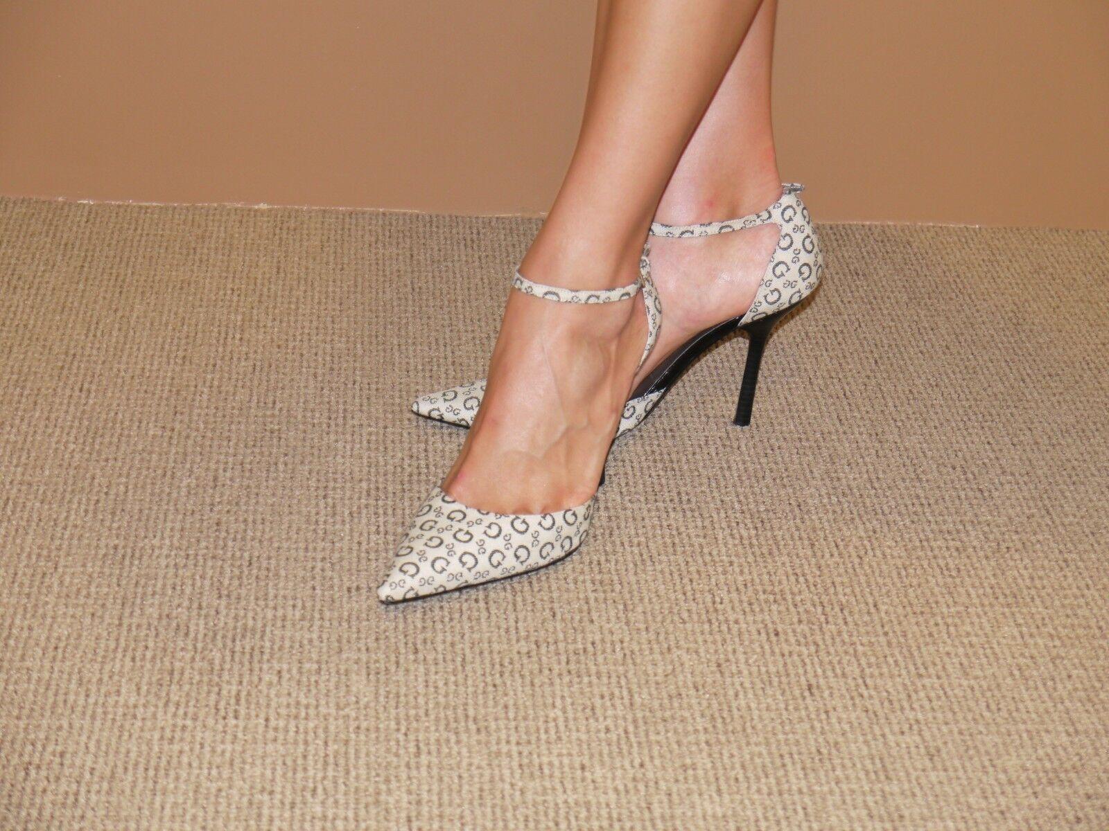 GUESS G LOGO  Pointed toe high heel heel heel pump with ankle strap US 8.5 EUR 38.5 af9f19