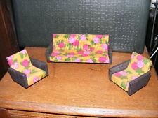 Altes Sofa + Sessel-Wohnzimmer-50/60er Jahre -Puppenhaus-Puppenstube- 1:12
