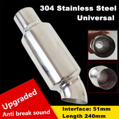 """Stainless Steel Car Exhaust Pipe Resonator Silencer 2/"""" to 2/"""" Exhaust Tip Muffler"""