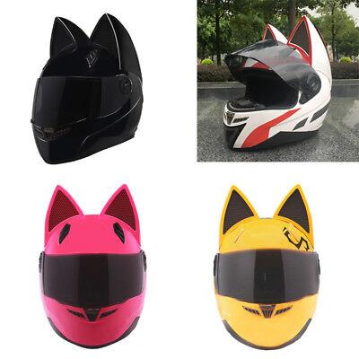 Motorcycle Helmet Ears Cat Full Face Horns Snowboard Racing Protective Gear Lens