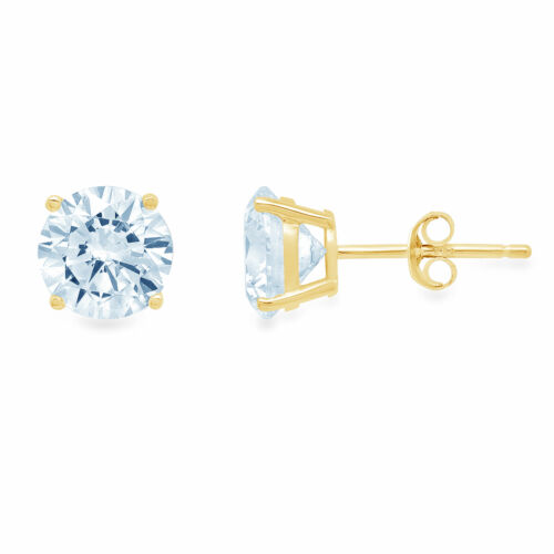 Details about  /1.5CT Round Classic Natural Sky Blue Topaz 18k Yellow Gold Earrings Push Back