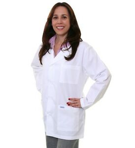 "White Unisex Lab Jacket Spectrum Coat 32"" 3 Pocket Style 401 Poplin Belt 2X New"