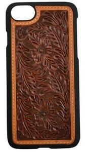sale retailer 810c0 7bb60 Details about 3D Western iPhone 8 Snap On Case Tooled Floral Leather Brown  DPH903