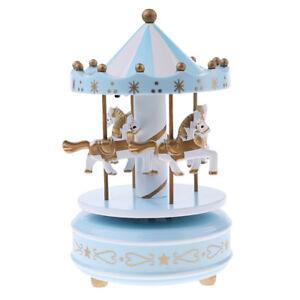 Details about Blue Carousel Rocking Horse Music Box w LED Light for  Children Bedroom Decor