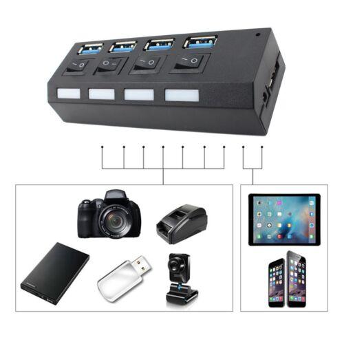 4//7 Port USB 3.0 HUB Powered AC Adapter Cable High Speed Splitter Extender GN