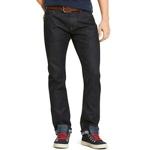 Tommy Hilfiger Selvedge Denim Men's Slim Straight Fit Jeans Rinse ...