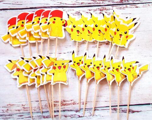 24 Kuchenstecker Cupcake Torten Topper Geburtstagparty Muffin Pikachu Ballon