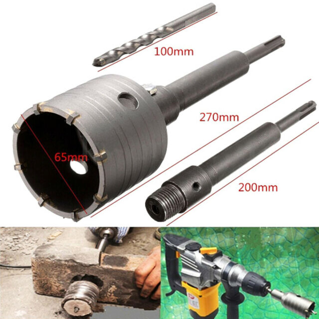 SDS plus shank concrete cement stone 65mm wall hole saw drill bit 200mm rod YT