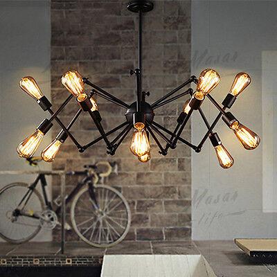 12-Lights Spider Chandelier Vintage Industrial Lamp Edison Pendant Ceiling Light