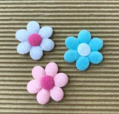 "60 pcs x 1.5/"" Padded Felt Spring Flower Appliques for Headband Hair Bows ST561"