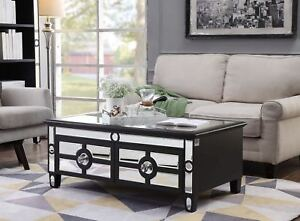 mirrored glass coffee table 4 drawers black crystal handle living