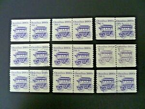USA 1983 Lot of 9 #1897 Transportation Issue Coil Pairs Used - See Description