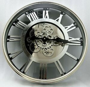 Large-Skeleton-Wall-Clock-Antique-Shabby-Chic-Round-Light-Gold-Silver-Mirror