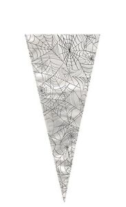 20-SPIDER-WEB-Halloween-Large-Cellophane-Sweet-Cone-Bags-Gift-Party-Bag-Favours