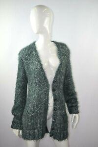 New-Dolce-amp-Gabbana-Women-039-s-Blue-Green-Fuzzy-Knit-Cardigan-Sweater-Size-40-EUR