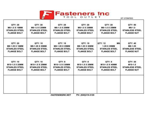 370 PCS Metric Stainless Steel Serrated Flange Bolt /& Flange Nut Assortment Kit