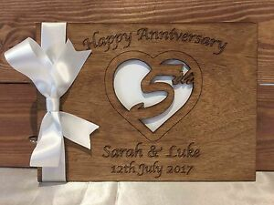 5th Wedding Anniversary Gift.Details About 5th Wedding Anniversary Gift Personalised Guest Book Scrapbook Album Wooden