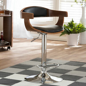 Image Is Loading Adjule Pedestal Bar Stool Modern Swivel Home Dining