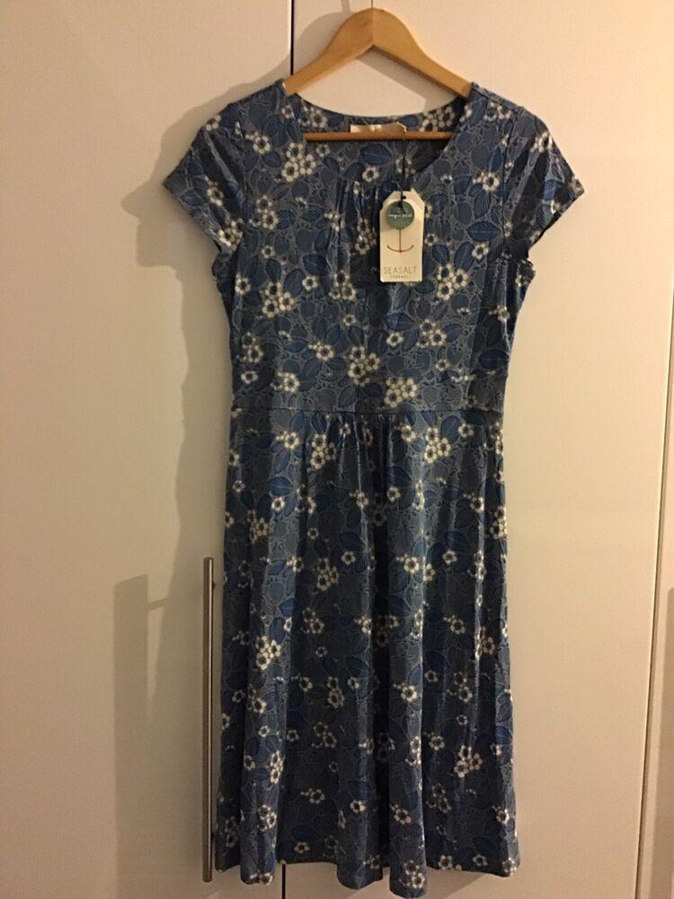 * Nouveau * Taille 10 Seasalt Carnmoggas Imprimé Floral Jersey Bambou Coton Robe Bnwt