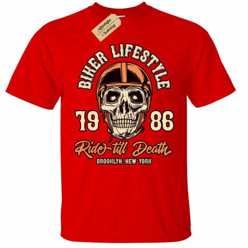 Biker Style De Vie T-shirt Homme Ride till death Brooklyn New York Moto Top