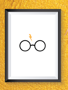 Harry Potter print home decor A4 print glasses lightening bolt