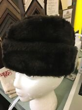 Mackinaw Hat Cap Black Fedora Furry Elmer Fudd Hunting Vintage 7-1/8 Russian