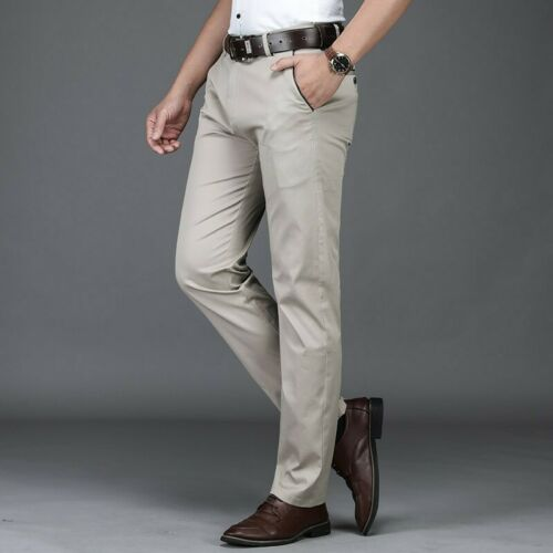 Men/'s Casual Straight Business Plain Pants Slim Fit Outdoor Work Trousers New L