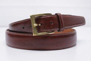 Trafalgar-Mens-Dress-Belt-38-Burgundy-Cortina-Zebu-Leather-Brass-Buckle-USA