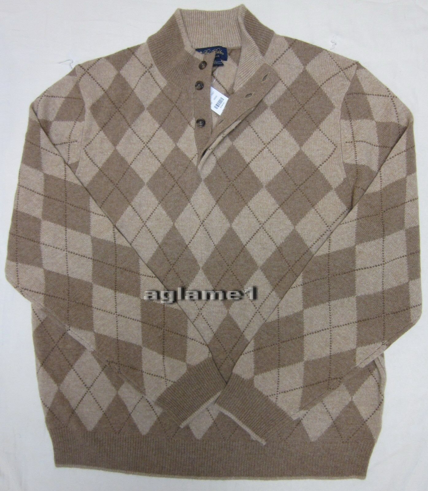 400 NWT  BROOKS BROTHERS camel hair Wool argyle Sweater XXL