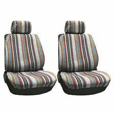 New Universal Baja Inca Saddle Mexican Blanket Front Low Back Seat Covers Pair