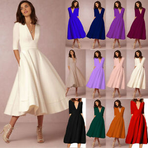Women-039-s-Vintage-Long-Ball-Gown-Prom-Cocktail-Ladies-Evening-Party-Swing-Dress