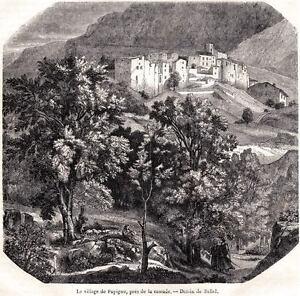 PAPIGNO. TERNI. Cascata delle Marmore.Velino.Valnerina.Umbria.Stampa Antica.1848