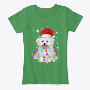 Christmas-With-Maltese-Women-039-s-Premium-Tee-T-Shirt