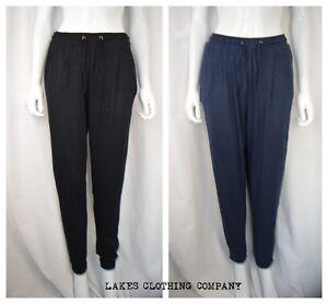 M/&S Ladies Jersey Tapered Leg Trouser Pants Black Side Pockets Turn up Hem